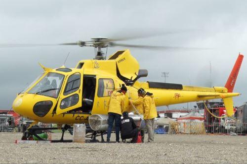 Helicóptero de la organización del Dakar. Foto: Lenin Lobatón/Andina.
