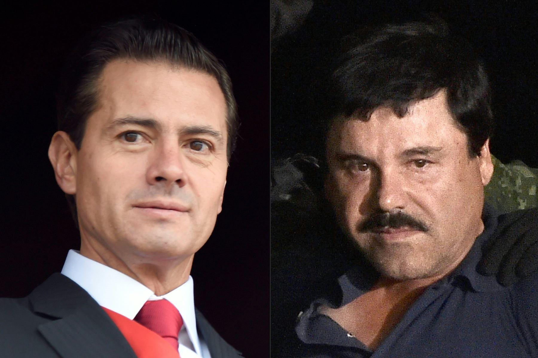 """Combinación de imágenes de archivo  del presidente mexicano Enrique Peña Nieto y el jefe de las drogas Joaquín """"El Chapo"""" Guzmán  Foto: AFP"""