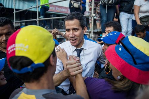 El presidente de la Asamblea Nacional de Venezuela, Juan Guaidó, durante un Cabildo Abierto este sábado, en Caracas Foto: EFE