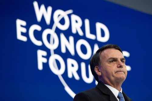 El presidente de Brasil, Jair Bolsonaro, pronuncia su discurso en Davos. Foto: EFE.