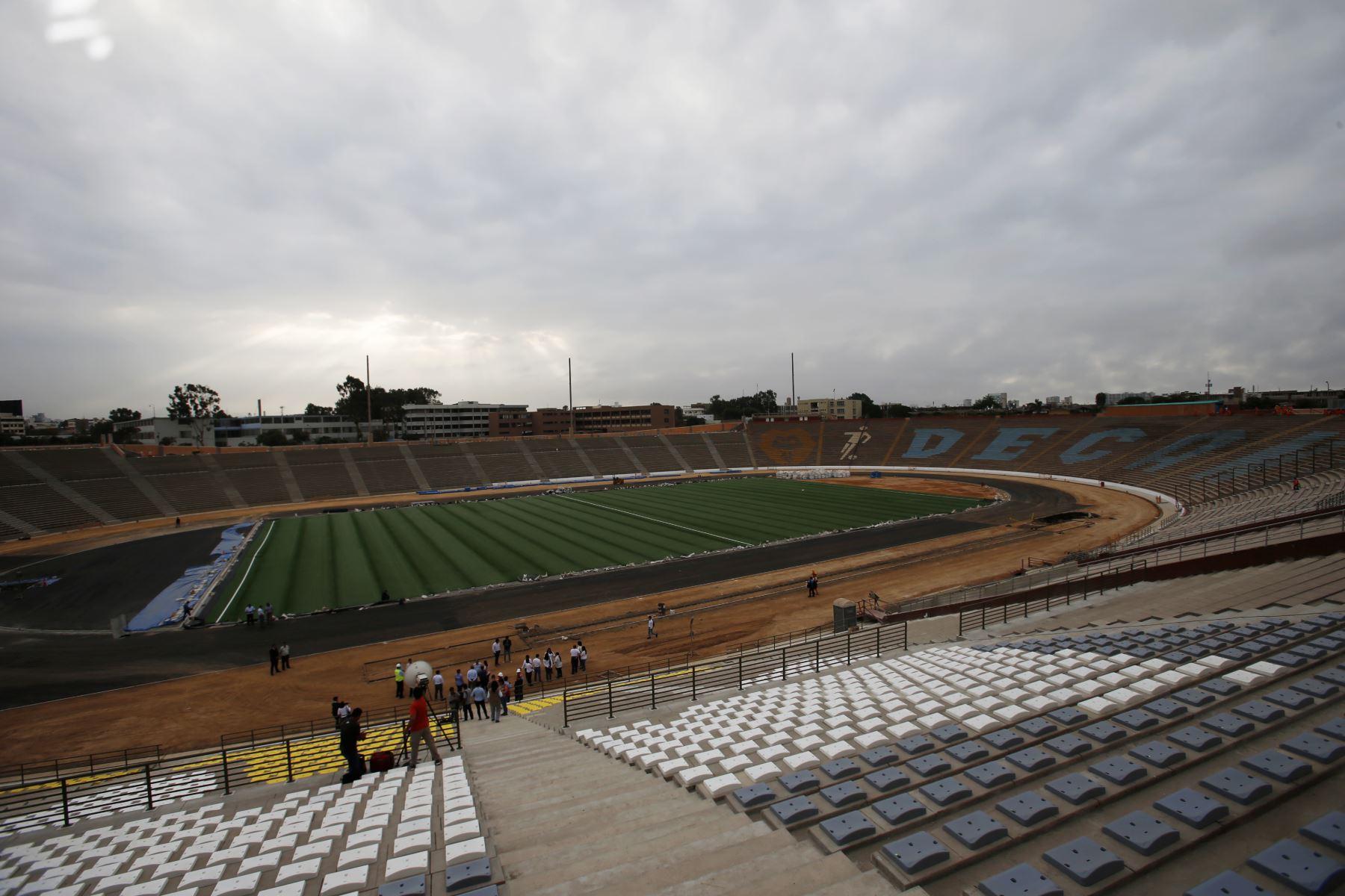 Casi listo. El remodelado estadio sanmarquino estará listo a finales de marzo para los Juegos Panamericanos 2019 que se inician en Lima el 26 de julio. ANDINA/Nathalie Sayago