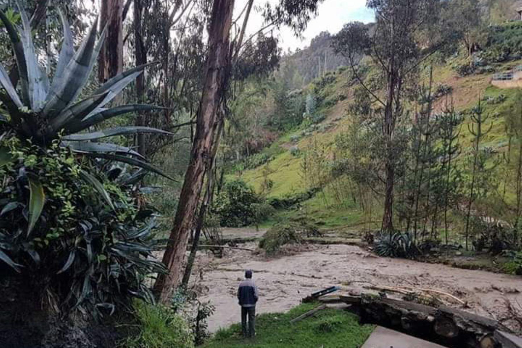 Desborde del río Pomabamba deja 22 familias damnificadas en Áncash. Foto: Facebook.