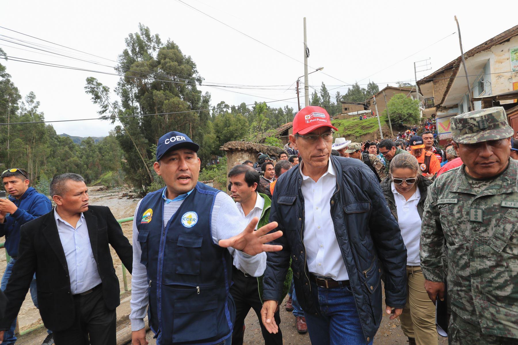 Jefe de Estado anuncia declaratoria de emergencia en zonas afectadas por las intensas lluvias en la región Áncash. Foto: ANDINA/Prensa Presidencia