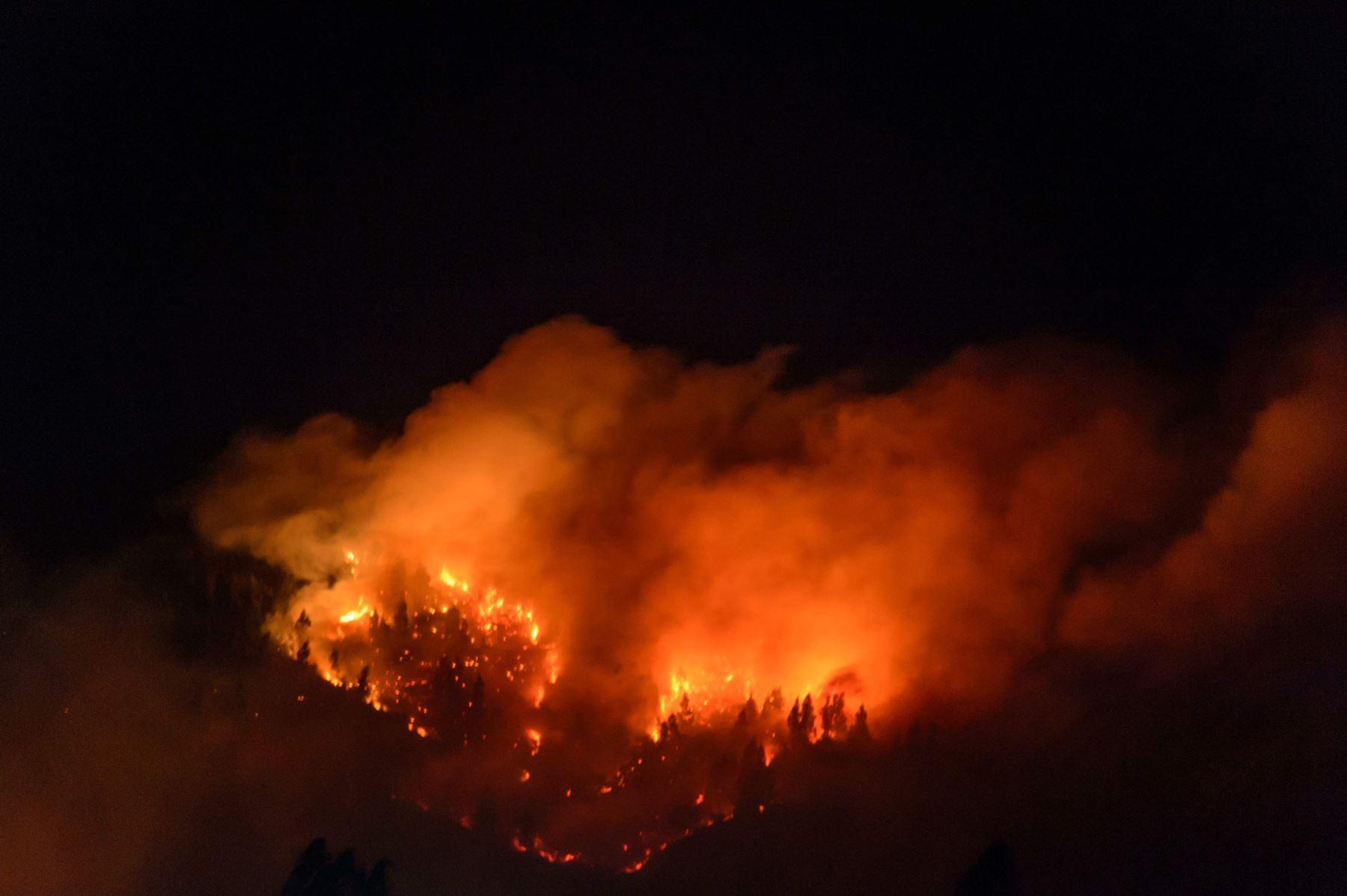 Las llamas de un incendio forestal se observan alrededor de Galvarino en la Región de la Araucanía, en el centro de Chile, al sur de Santiago Foto: AFP