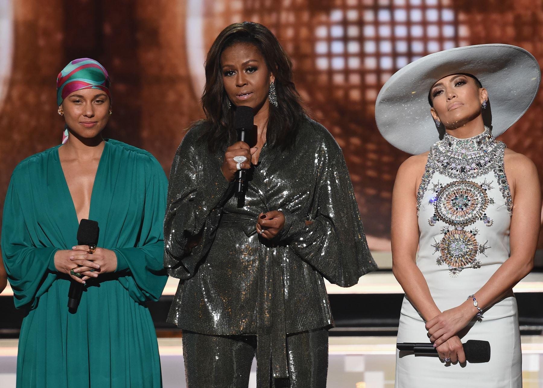 Michelle Obama en los premios Grammy. Foto: AFP.