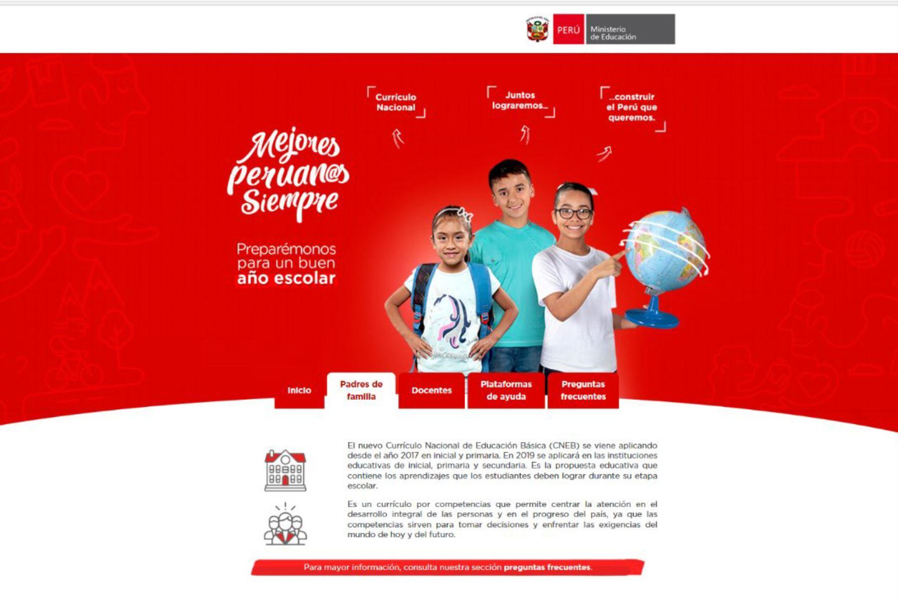 Nuevo portal web del Minedu informa sobre matrícula escolar. foto: Andina/difusión