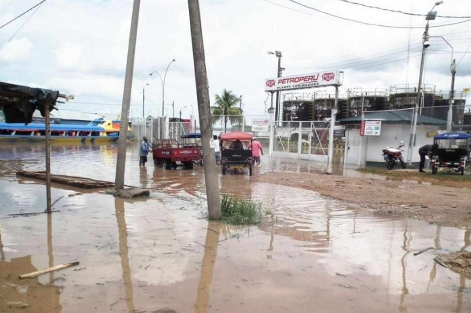 Crecida del río Huallaga inunda viviendas en zona baja de Yurimaguas, en Loreto. ANDINA