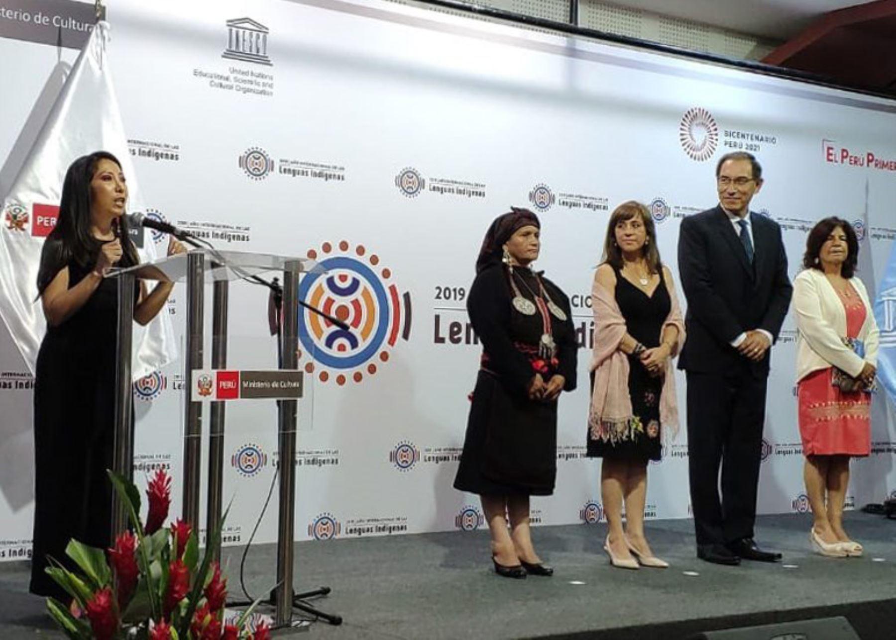 Presidente Martín Vizcarra participa en lanzamiento del Año Internacional de las Lenguas Indígenas.