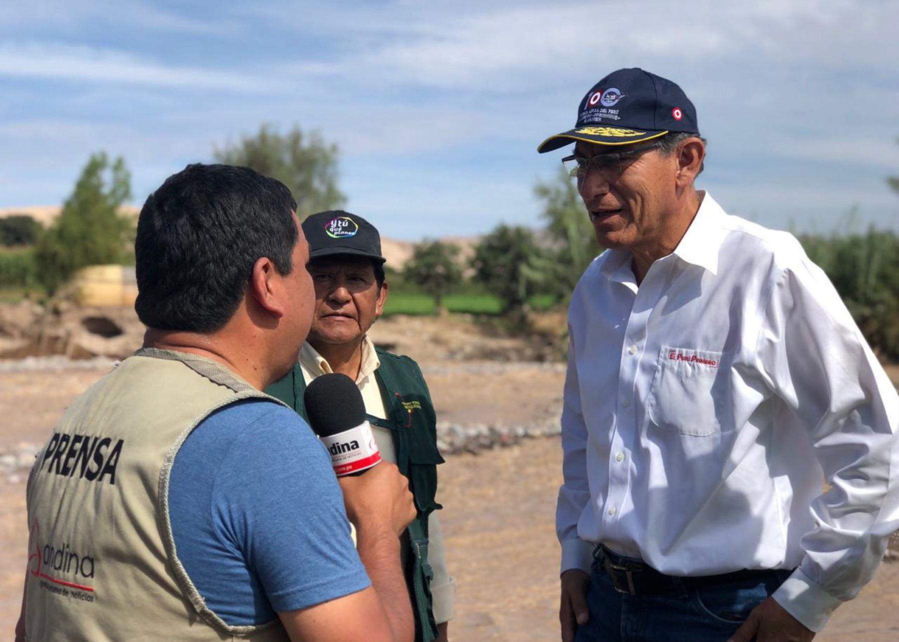 Presidente Martín Vizcarra declara a la Agencia Andina, en Moquegua,