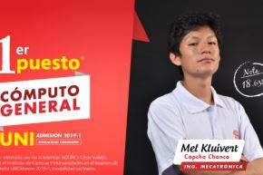Joven huancaíno Mel Capcha Chanca es el primer puesto de examen UNi 2019-1