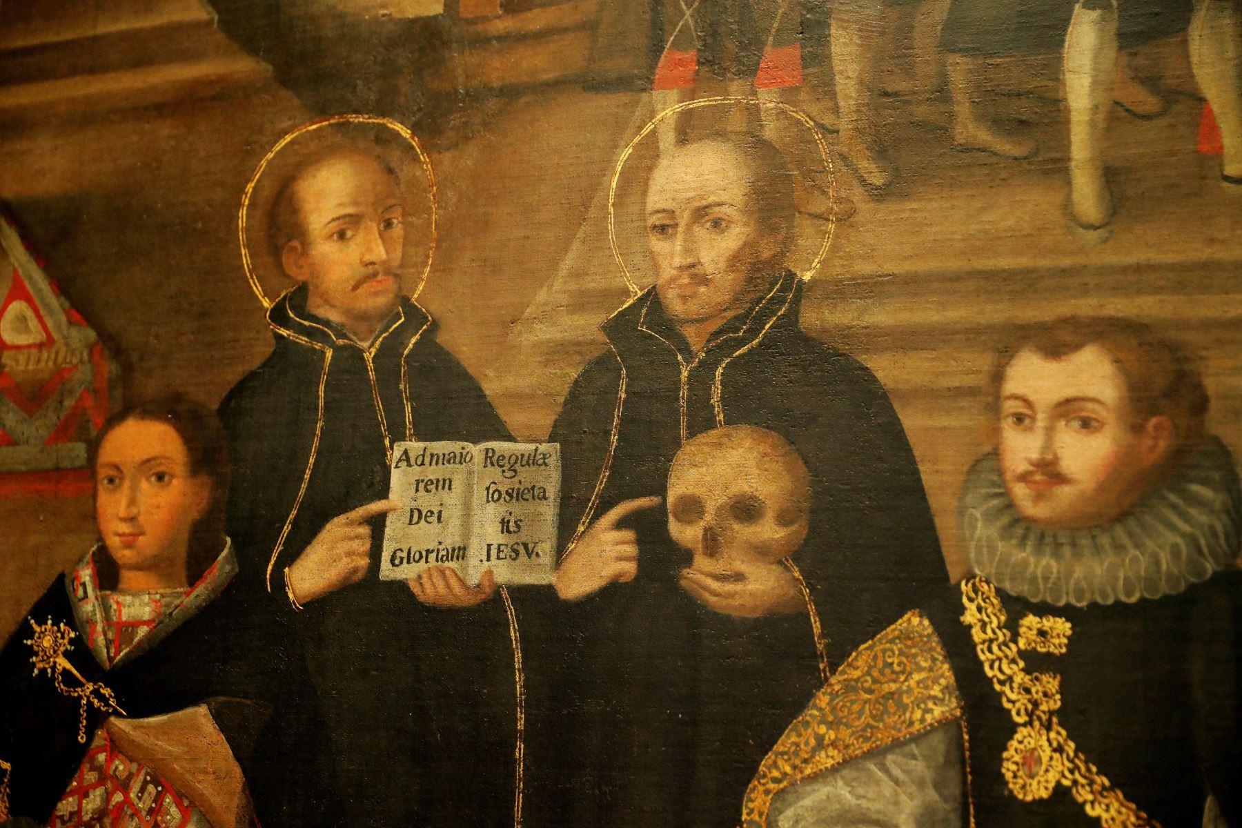 """""""Matrimonios de Martín de Loyola con Beatriz Ñusta y de Juan de Borja con Lorenza Ñusta de Loyola"""", pintura cusqueña del XVIII que se expondrá en el Museo del Prado de Madrid. Foto: EFE."""