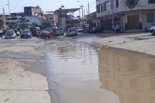 El barrio Bellavista, en la ciudad de Tumbes, es la primera zona afectada por el desborde del río Tumbes. Foto: Senamhi/Twitter