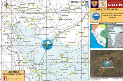 Las intensas lluvias que caen en el distrito de Pampachiri, región Apurímac, han dejado dos víctimas mortales.