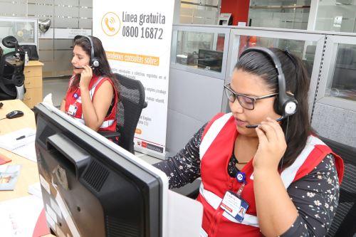 Línea de Sunafil para trabajadores operará desde la próxima semana. Foto: Difusión.