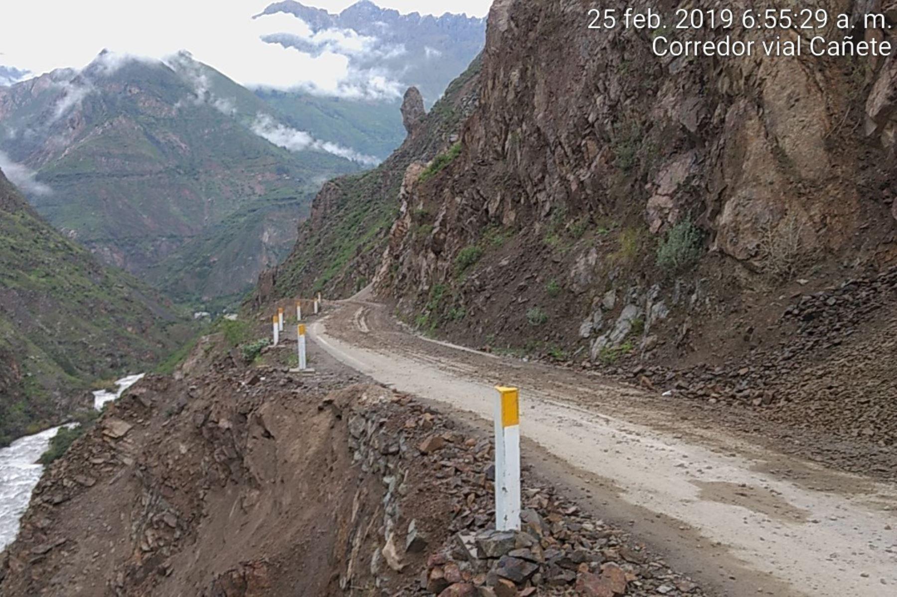 El MTC informó que fue restablecido el tránsito entre los kilómetros 68+800 y 106+800 de la ruta Lunahuaná-Yauyos-Chupaca, en la región Lima.