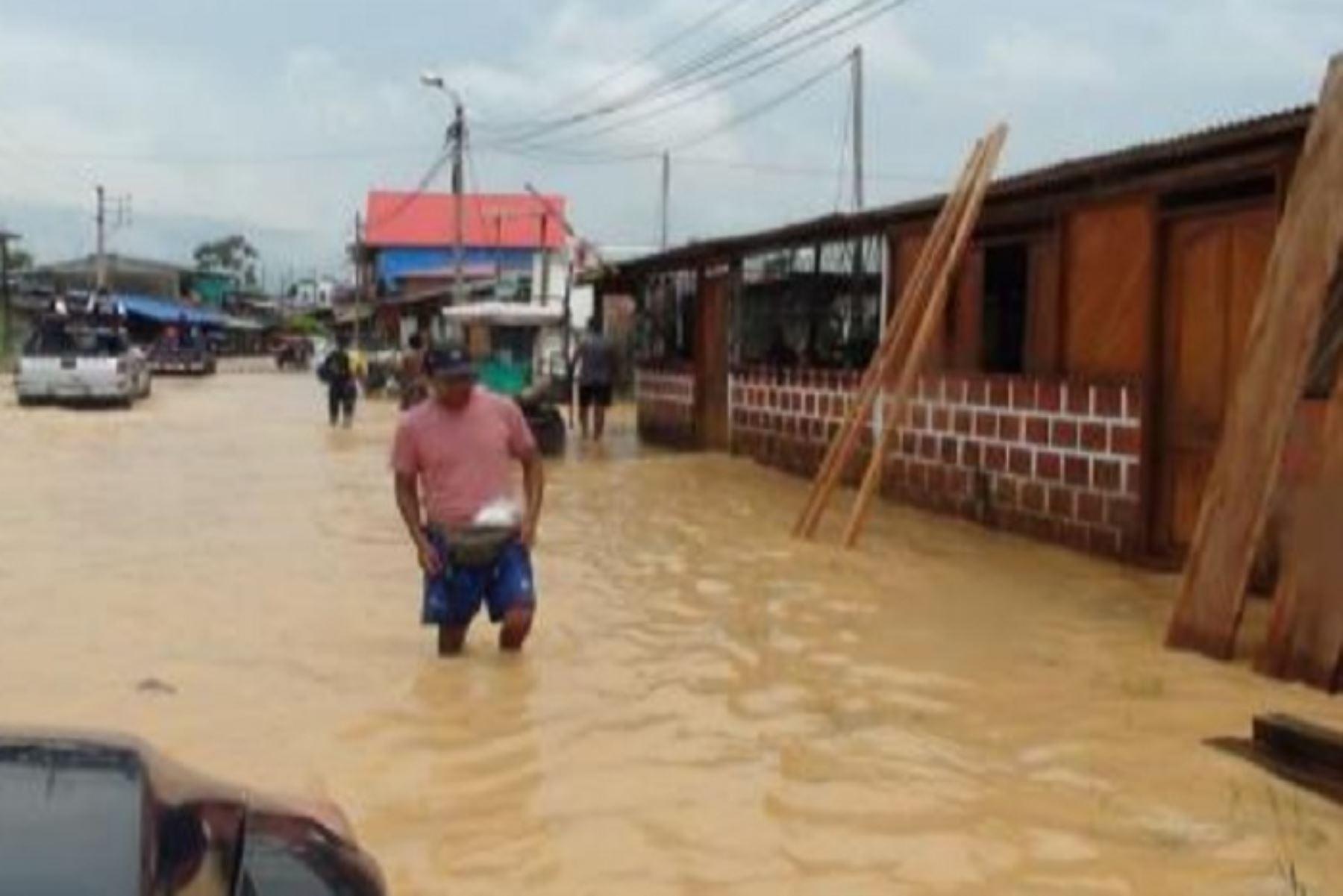 Desborde del río Tahuamanu por las lluvias intensas ha ocasionado estragos en comunidades del distrito de Iberia, en la región Madre de Dios. Foto:ANDINA/Difusión