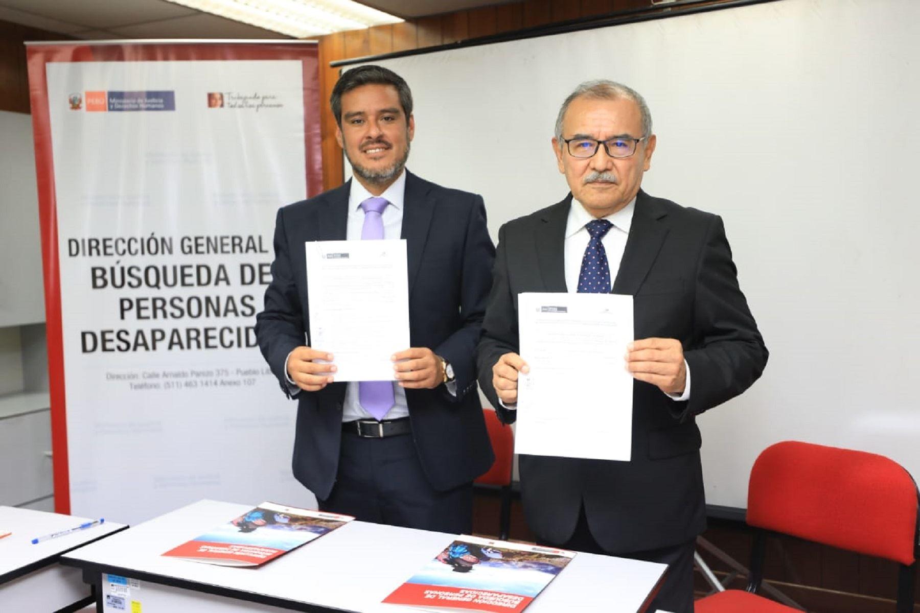 Viceministro de Derechos Humanos y Acceso a la Justicia, Daniel Sánchez; y el presidente de la Comisedh, Pablo Rojas. Foto: Difusión.