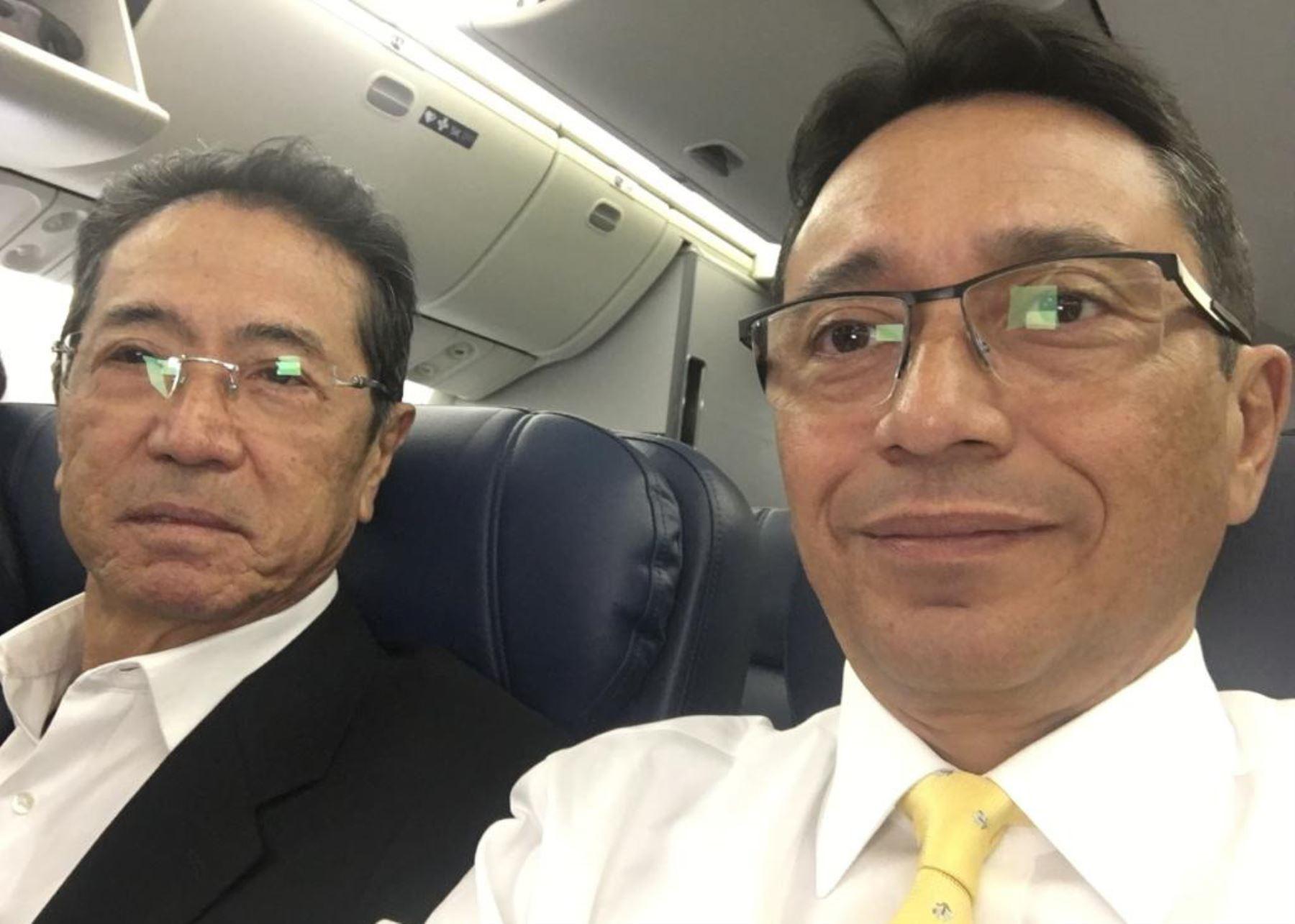 Jaime Yoshiyama y su abogado Humberto Abanto.