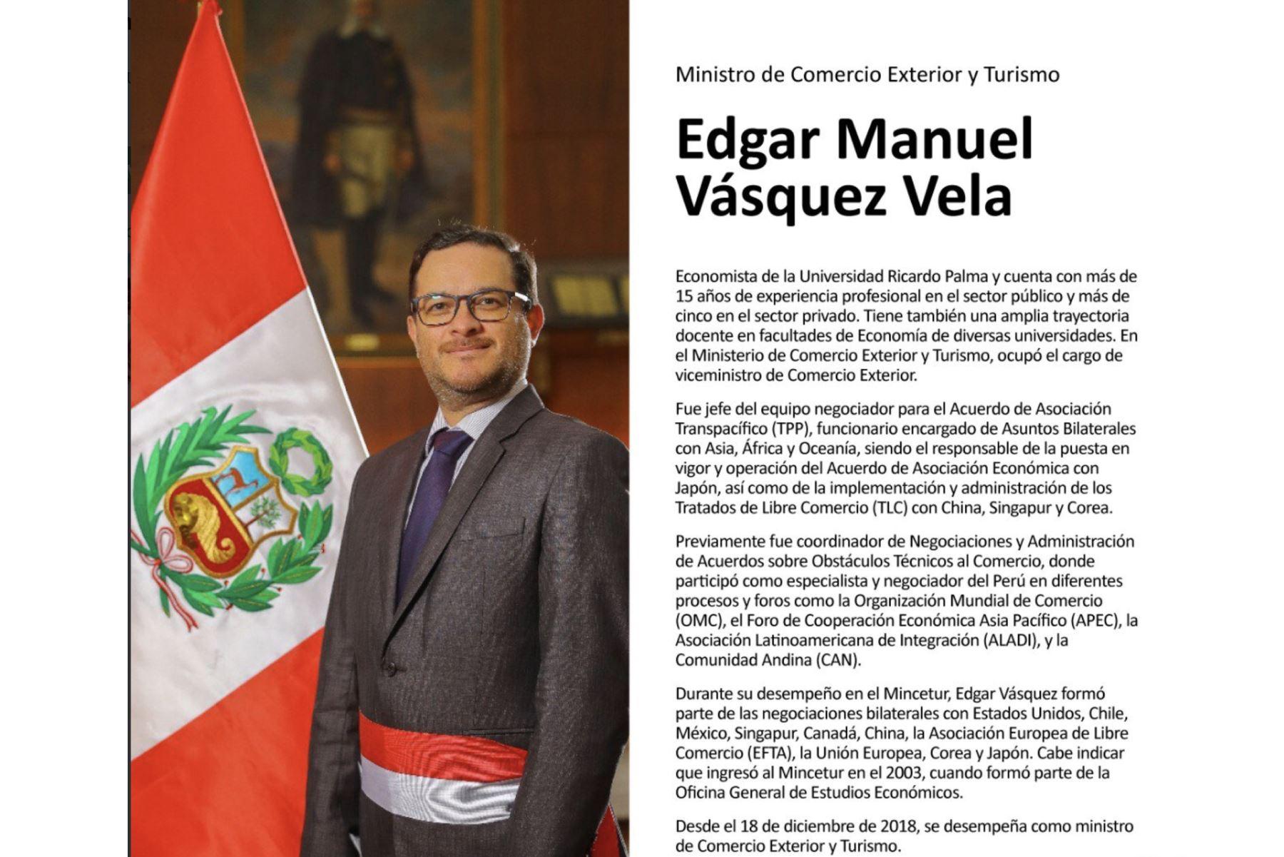 Edgar Vásquez, ministro de Comercio Exterior y Turismo