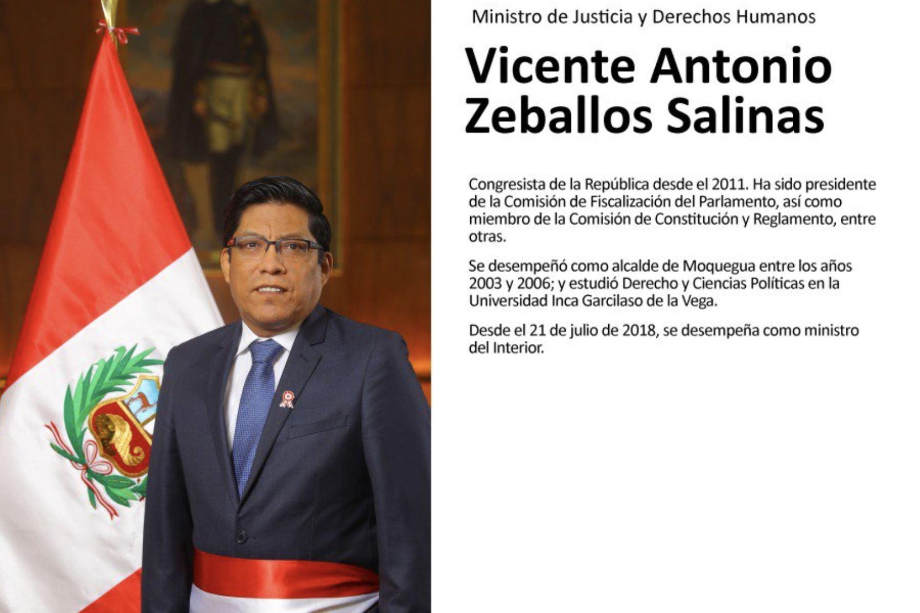 Vicente Zeballos, ministro de Justicia y Derechos Humanos