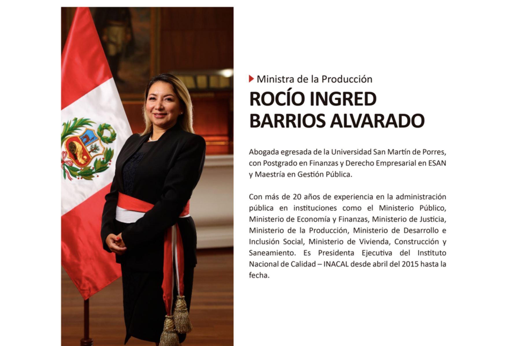 Ministra de la Producción, Rocío Ingred Barrios