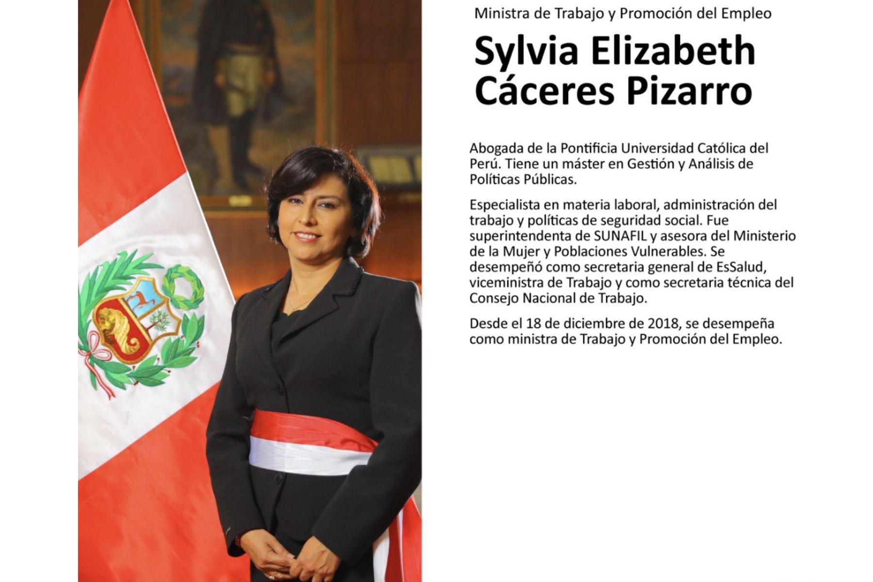 Sylvia Cáceres, ministra de Trabajo y Promoción del Empleo