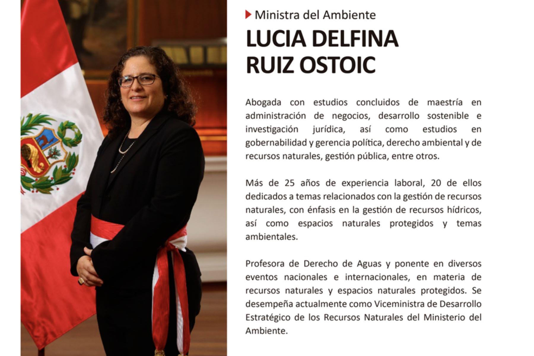 Lucía Ruíz, nueva ministra del Ambiente