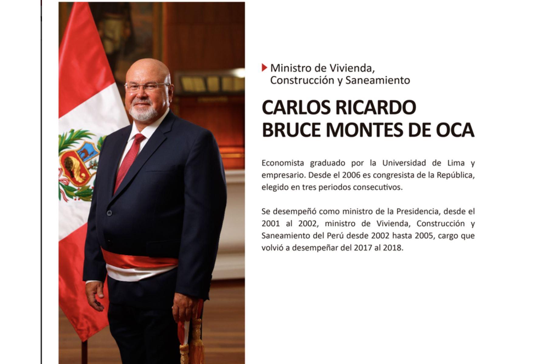 Carlos Bruce, nuevo ministro de Vivienda