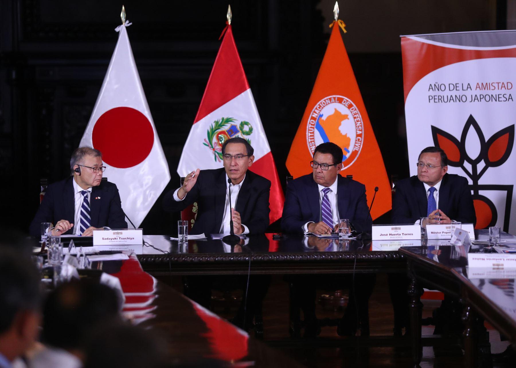 El presidente Martín Vizcarra participó en la clausura del Encuentro sobre Gestión de Desastres Naturales y Alerta Temprana', evento coorganizado por la Embajada de Japón en el Perú y el Instituto Nacional de Defensa Civil (Indeci).