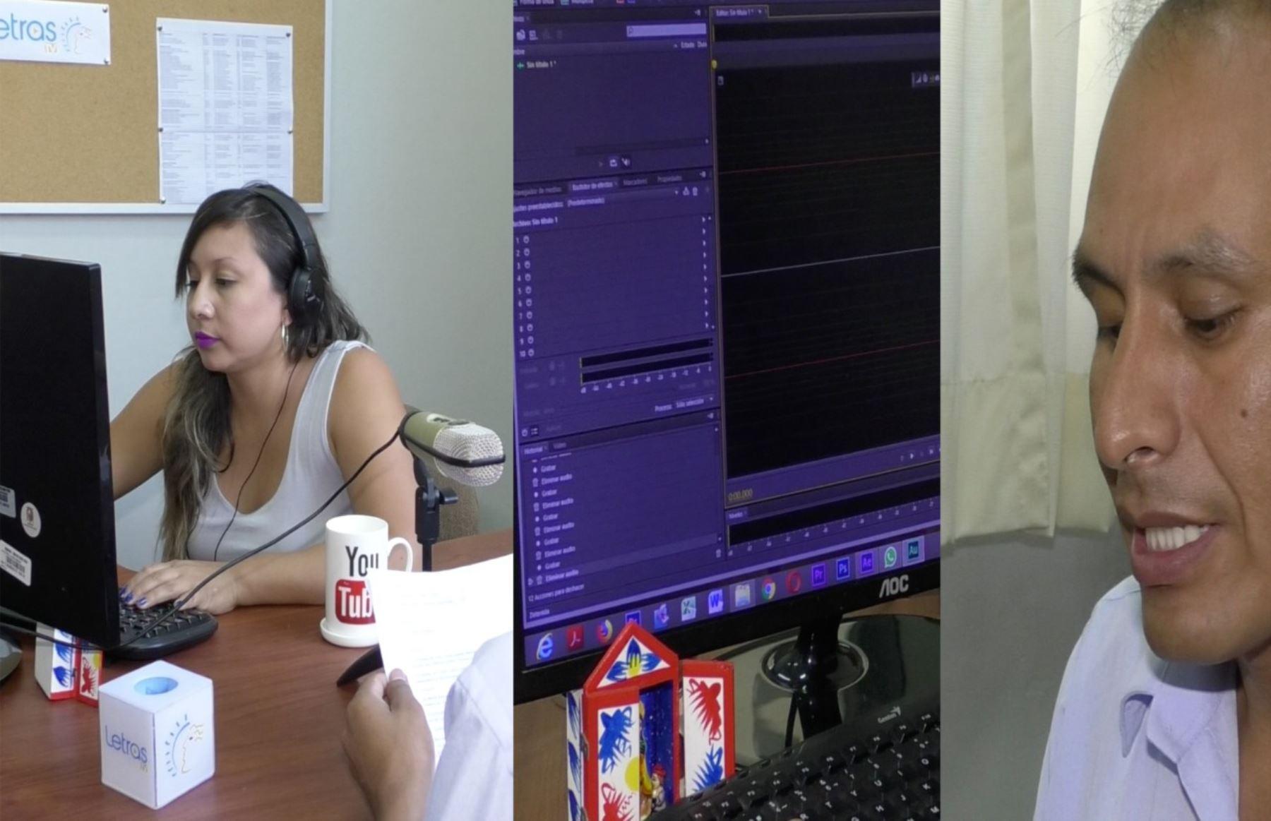 Tres momentos de la producción del micronoticiario. Foto: San Marcos/ANDINA