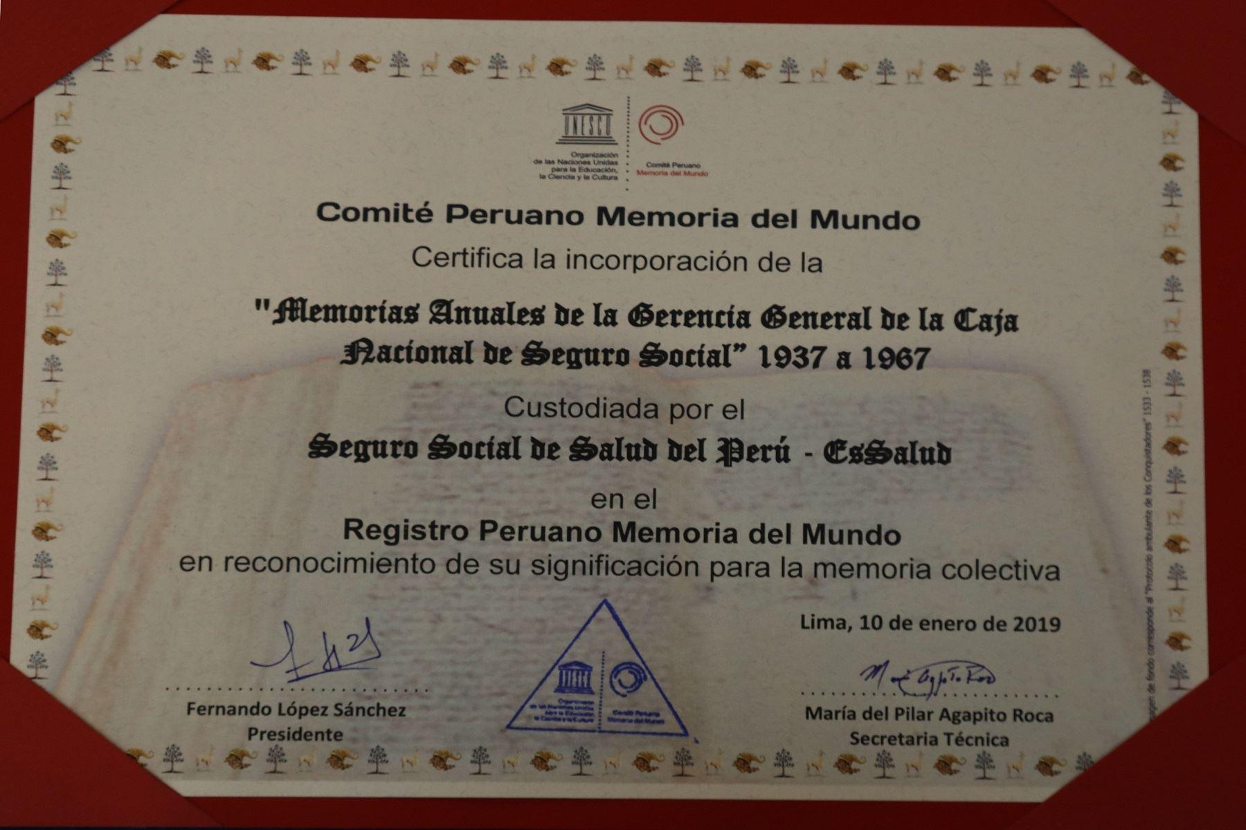 Memorias anuales del Seguro Social son patrimonio documental de la Unesco Foto: Essalud