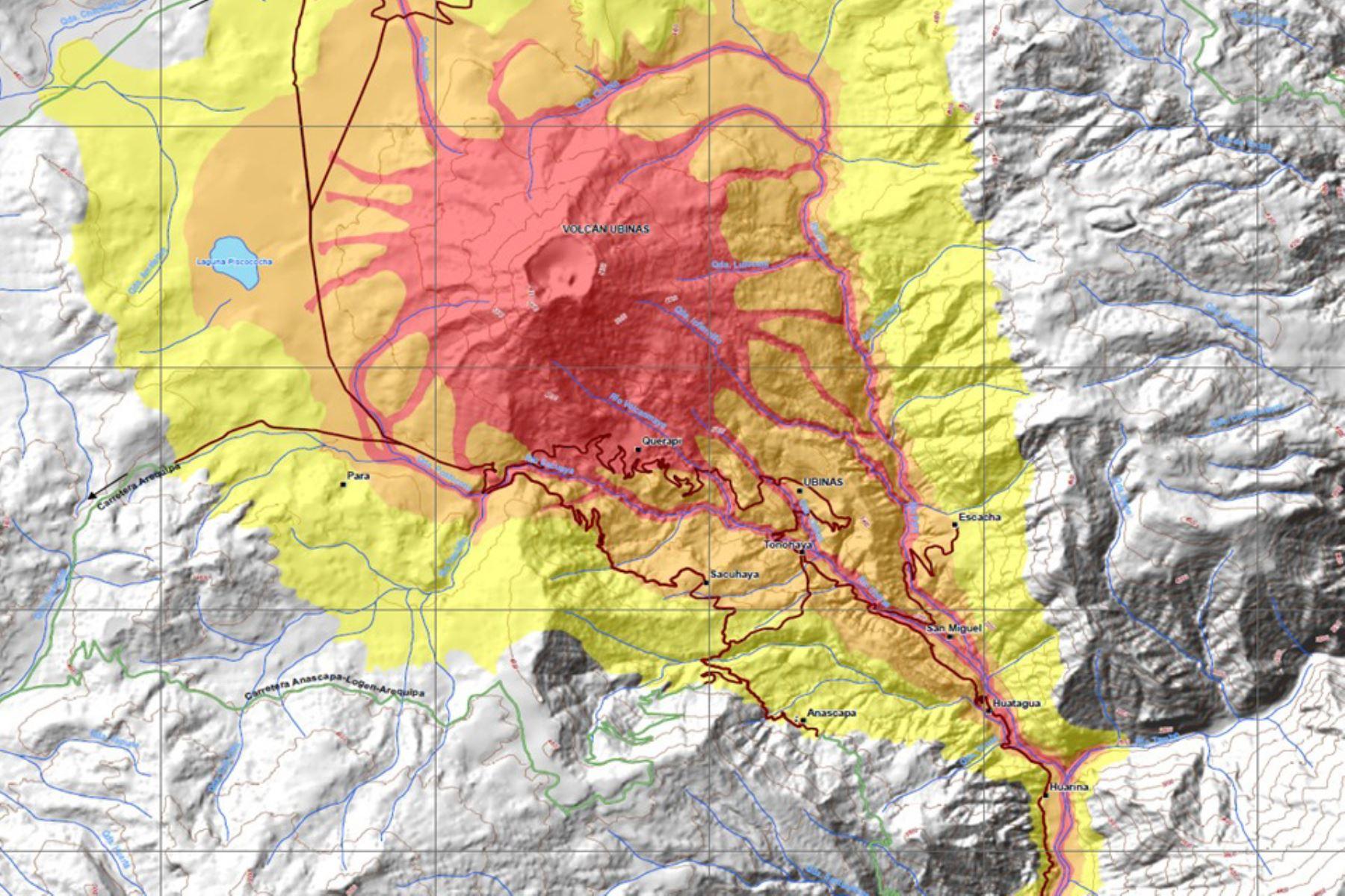 Imágenes satelitales identifican poblaciones en riesgo por el volcán Ubinas. ANDINA/Difusión