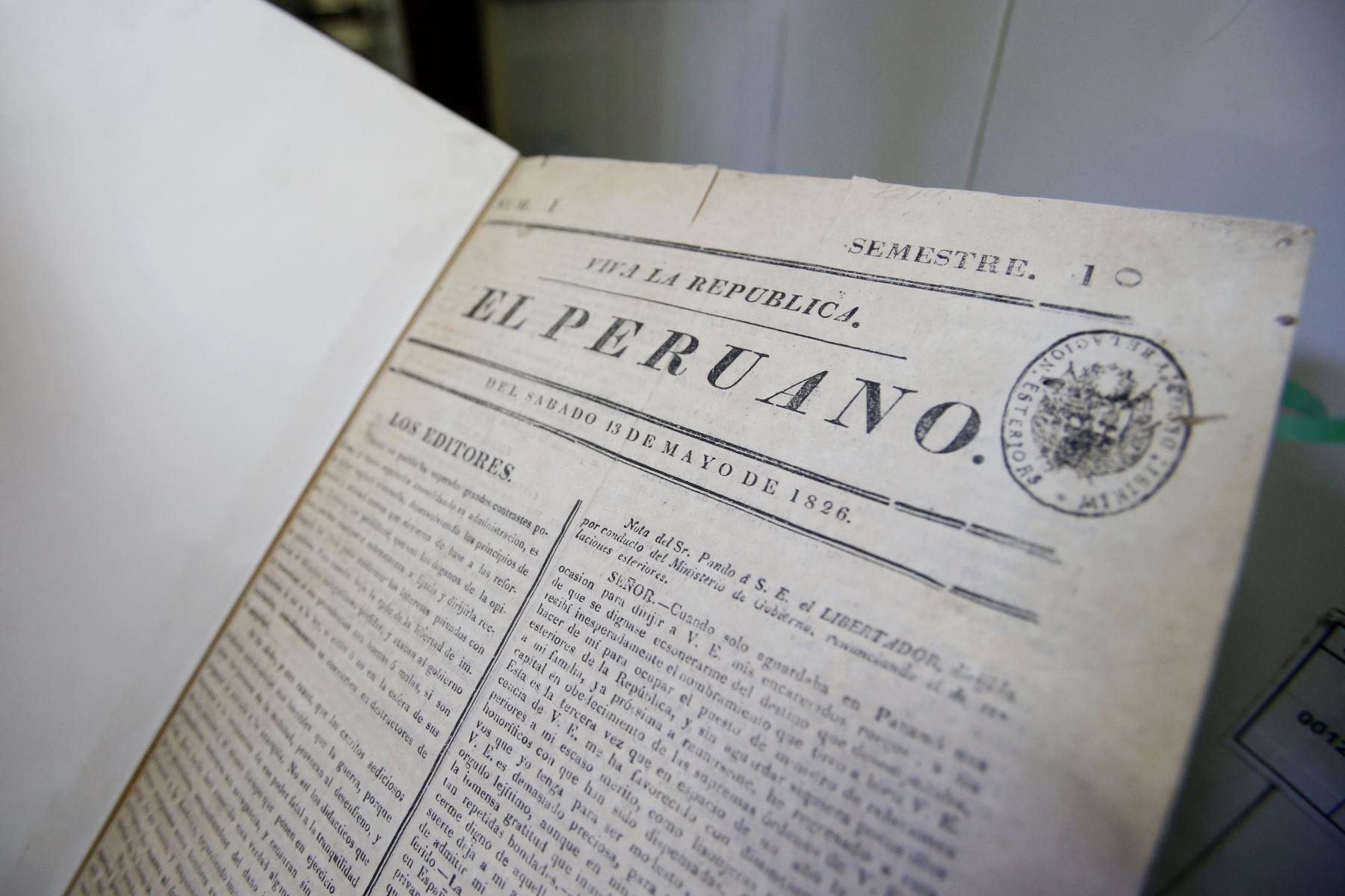 Este medio se fundó el 25 de octubre de 1825 como El Peruano Independiente, una publicación de cuatro páginas, en donde la última estaba escrita en inglés para informar sobre economía y negocios. ANDINA/ Andina