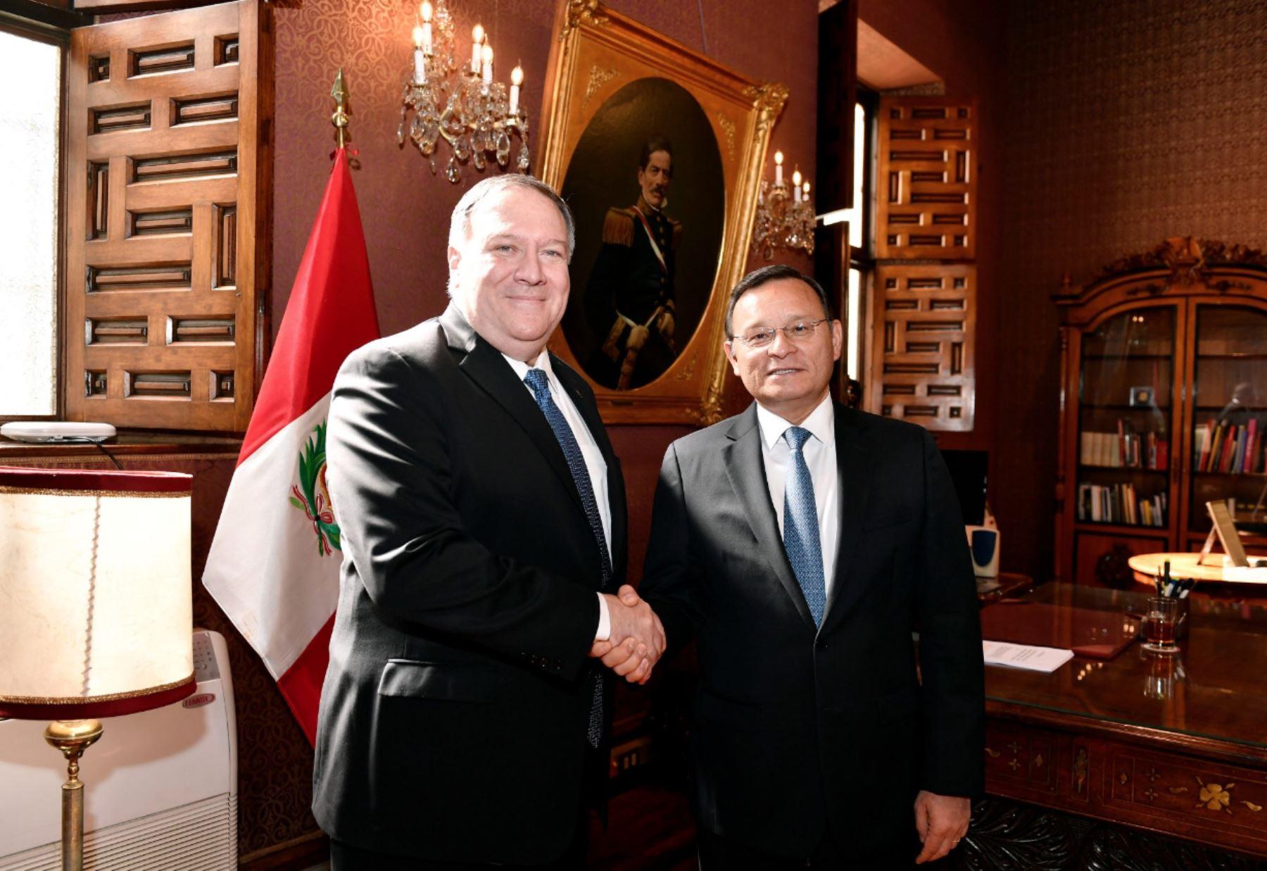 Reunion del Canciller @NestorPopolizio con el Secretario de Estado de los Estados Unidos de América.Foto: ANDINA/MRE