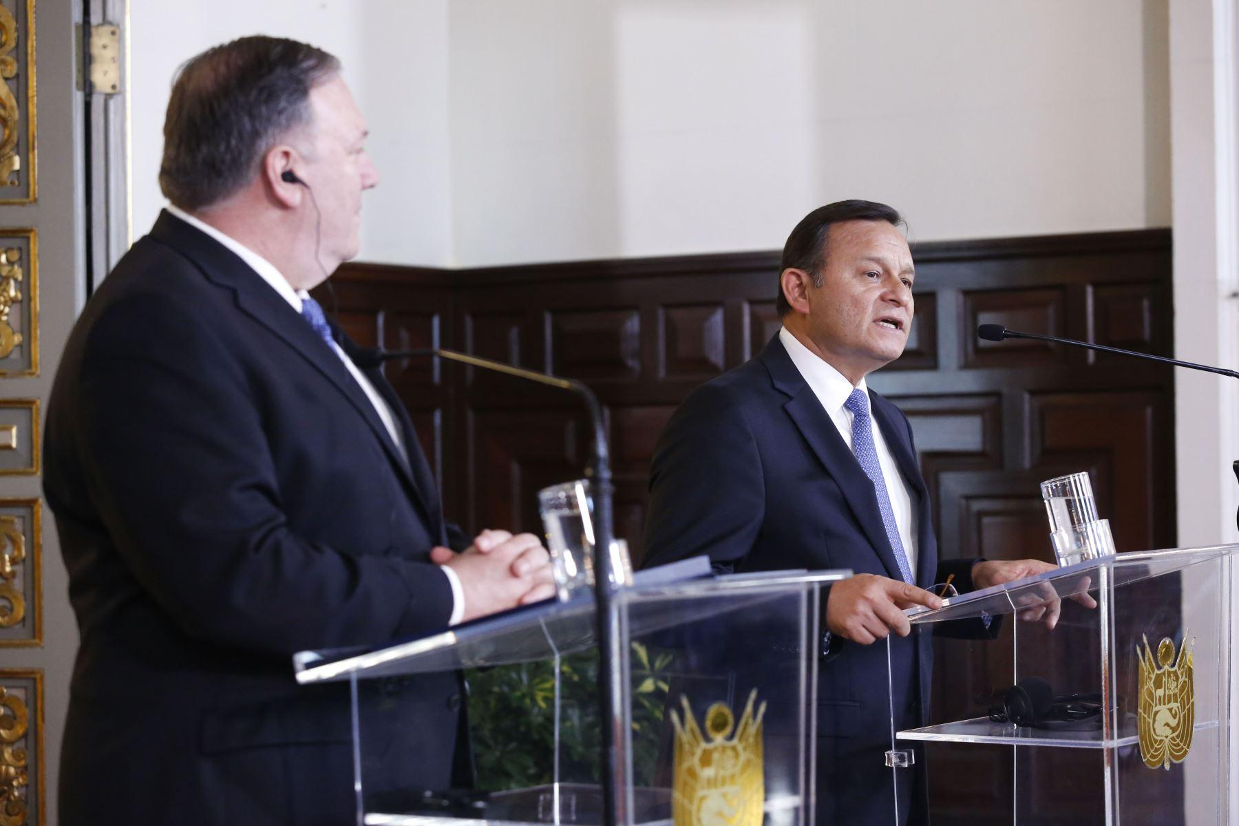 Conferencia de prensa del Canciller  Néstor Popolizio y  el Secretario de Estado de los Estados de los EEUU Mike Pompeo.Foto:ANDINA/Prensa Presidencia