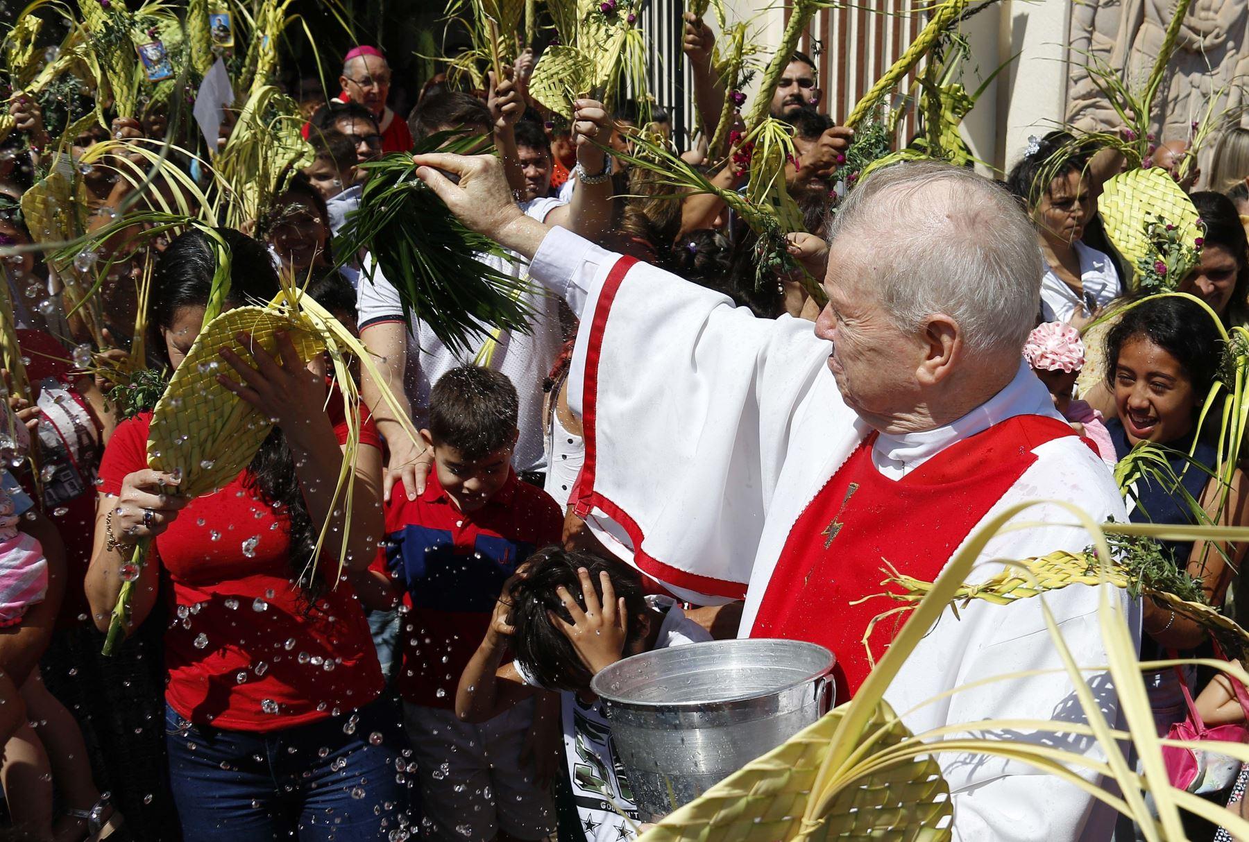 Un sacerdote bendice las palmas durante la celebración del Domingo de Ramos een la Catedral Metropolitana en Asunción (Paraguay). Foto:EFE