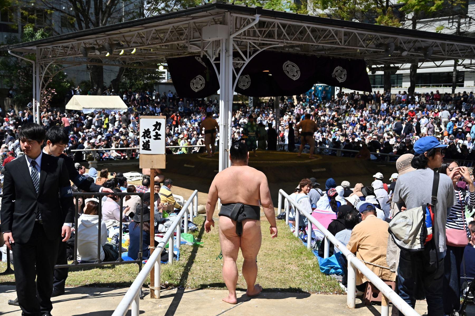 """Los luchadores de sumo participan en un """"honozumo"""", una exhibición ceremonial de sumo, en los terrenos del Santuario Yasukuni en Tokio. Foto: AFP"""