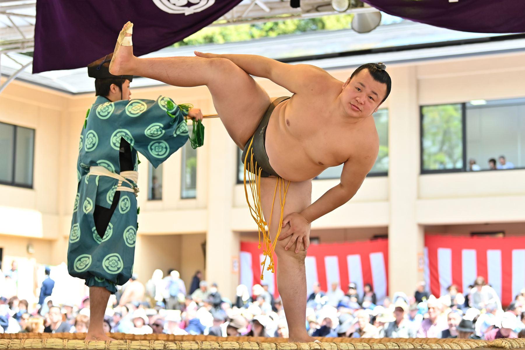 Los mejores luchadores de sumo participan en una exposición anual de un día para miles de espectadores dentro de los precintos del santuario Yasukuni en Tokio. Foto: AFP