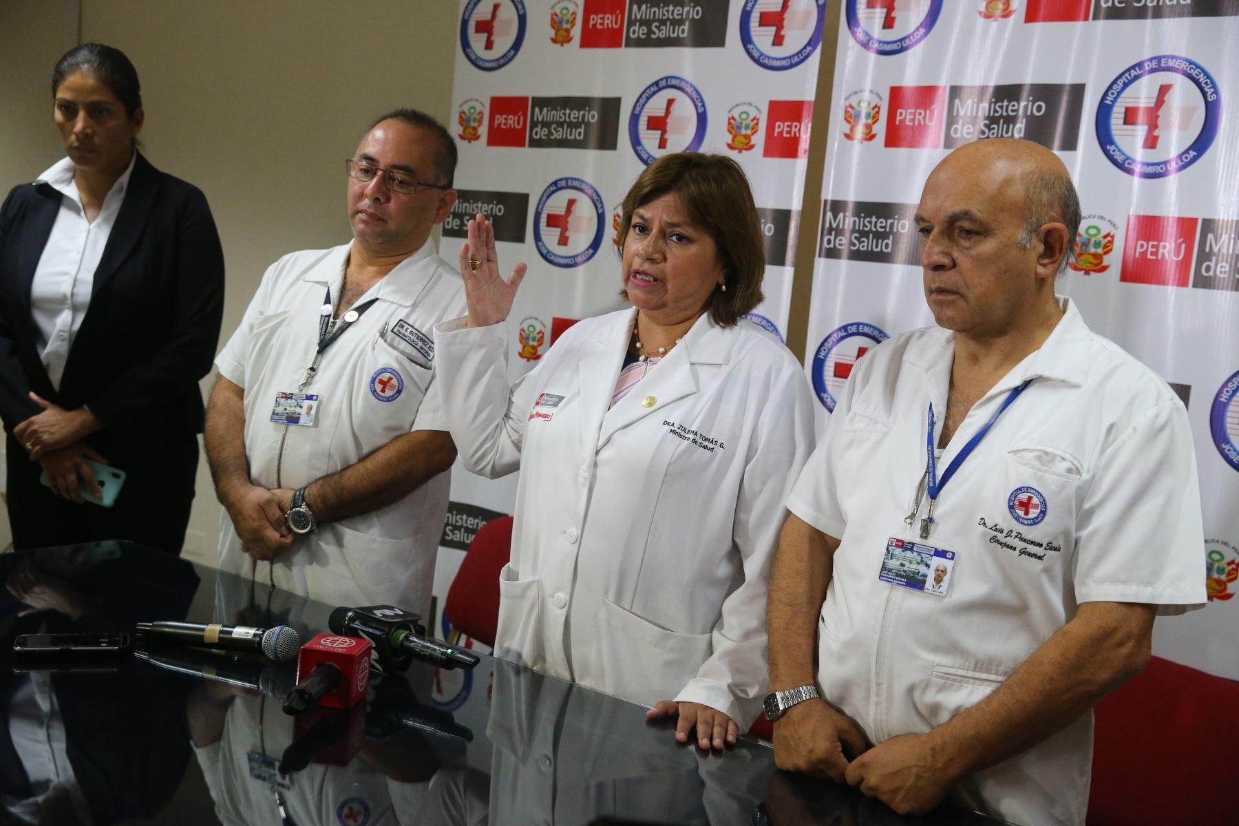 Conferencia de prensa sobre el estado de salud del expresidente Alan García. Foto: ANDINA/ Vidal Tarqui