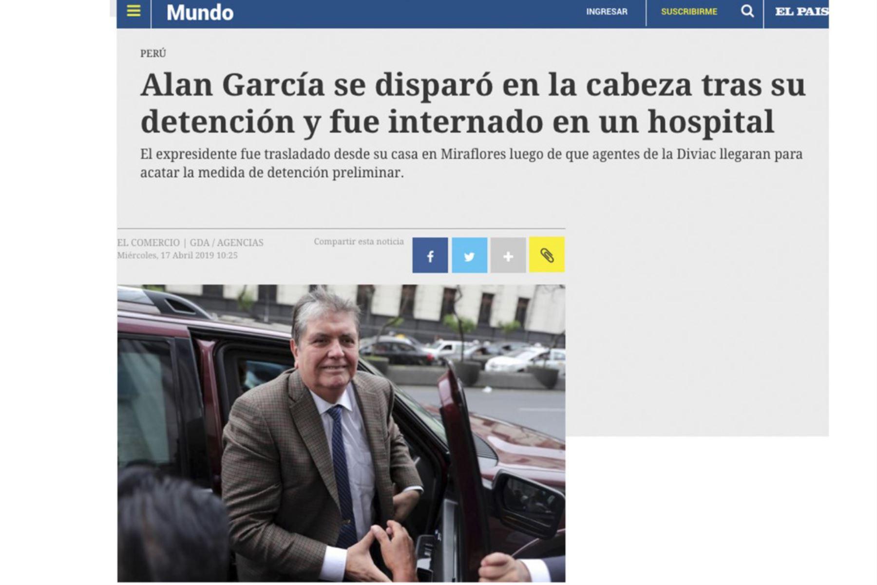 Así informa la prensa internacional sobre el disparo que se autoinflingió Alan García
