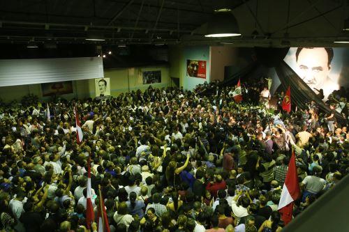 Restos del ex presidente  Alan Garcia llegan al aula magna de la Casa del Pueblo