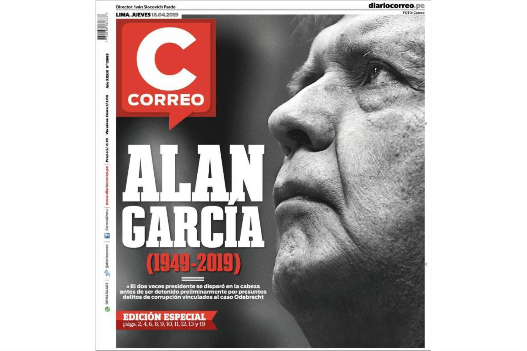 Alan García: Las portadas de los diarios peruanos