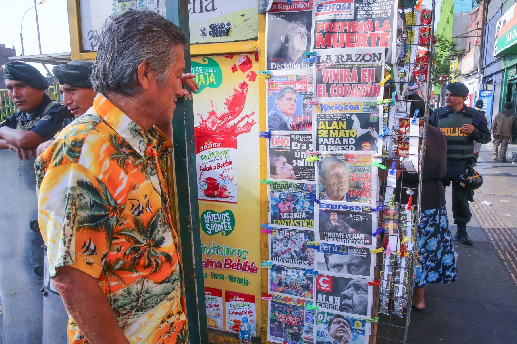 Alan García: Las portadas de los diarios peruanos  Foto: ANDINA/Vidal Tarqui