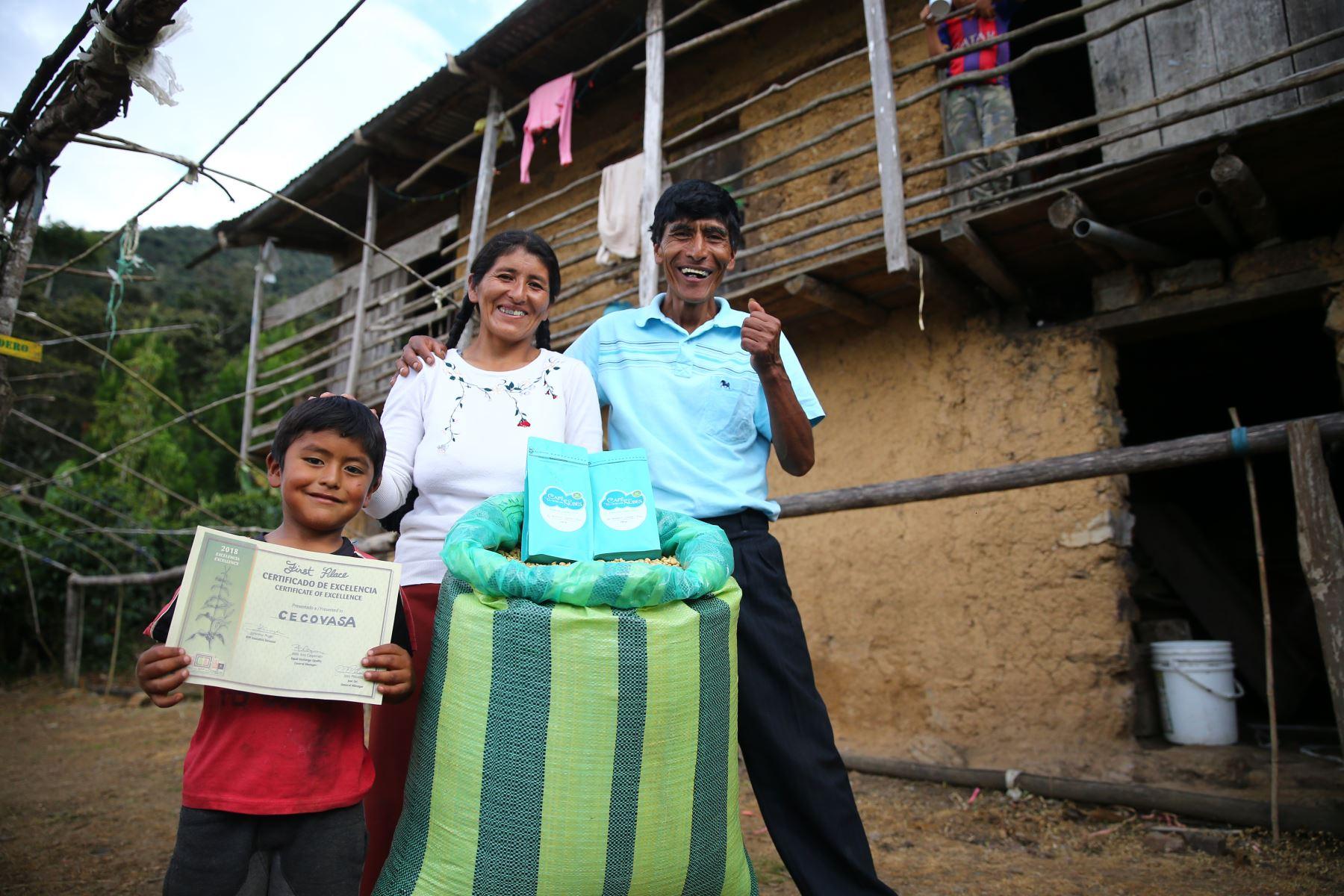 Vicentina Phocco y su esposo Pablo Mamani cultivan el mejor café del mundo en el valle de Sandia, en Puno. ANDINA/Luis Iparraguirre