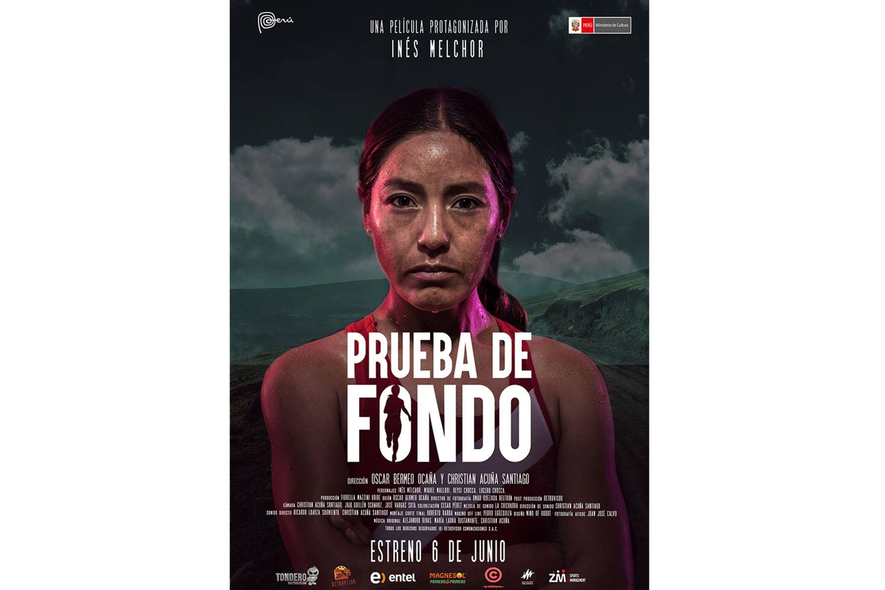 """Afiche de cinta """"Prueba de fondo""""."""