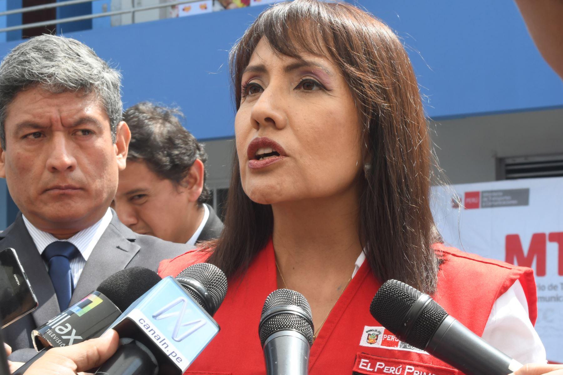 Ministra de Transportes y Comunicaciones, María Jara. ANDINA