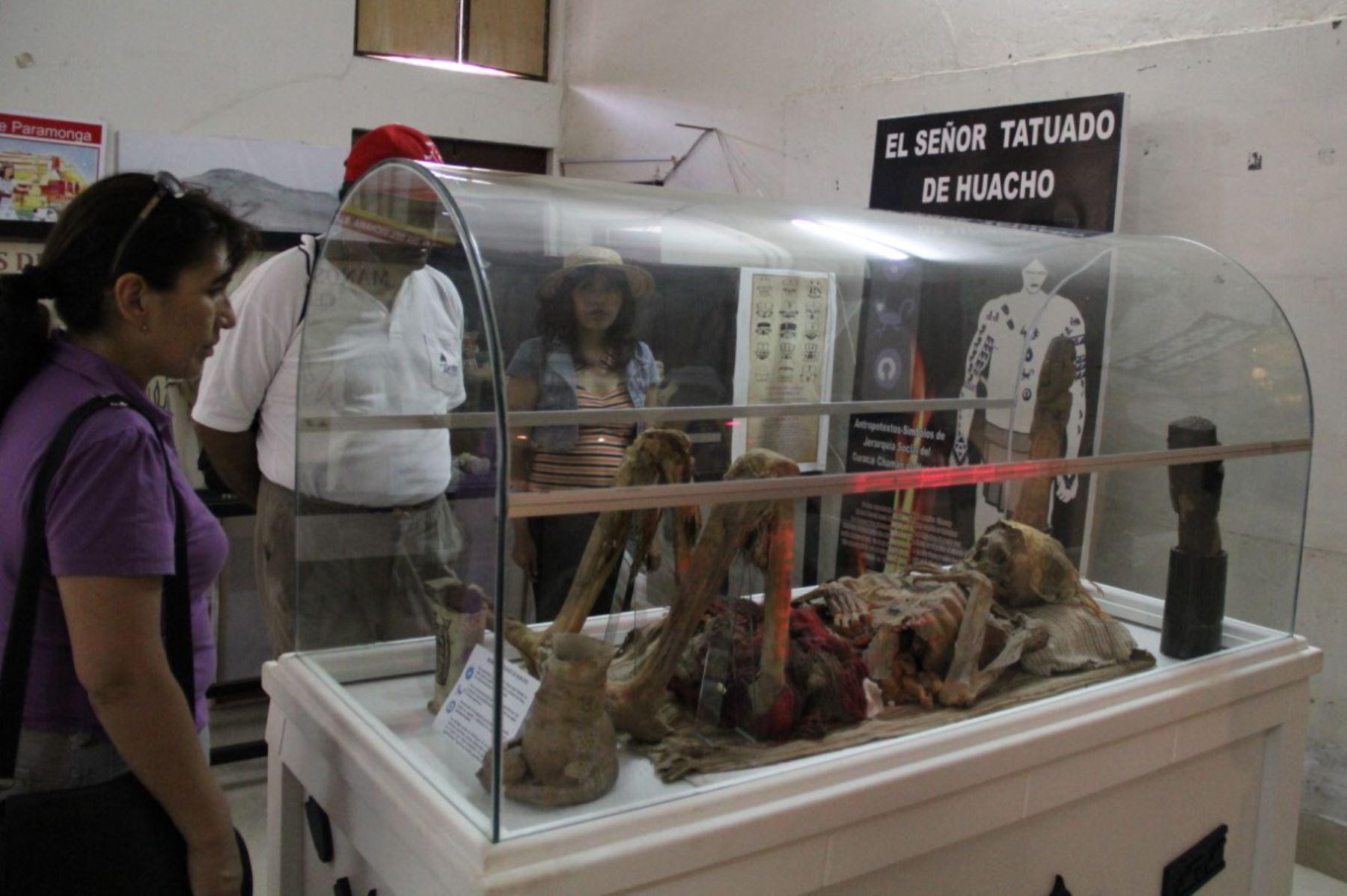 """Museo Regional de Huacho exhibe los restos óseos del llamado """"Hombre tatuado""""."""