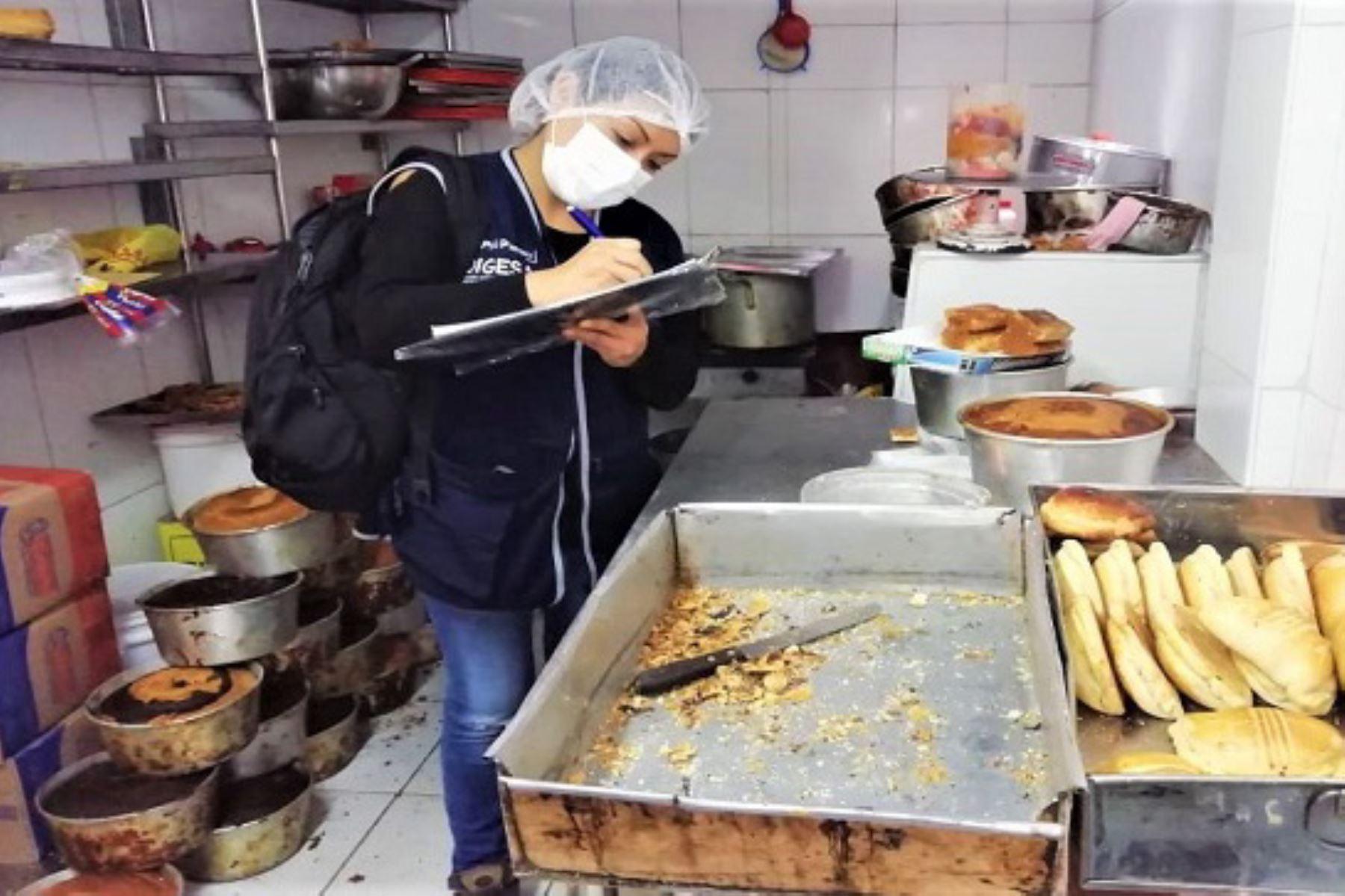 Inspectores verifican infraestructura, equipos y almacenamiento de insumos en fábricas, panaderías y pastelerías. Foto: Digesa.
