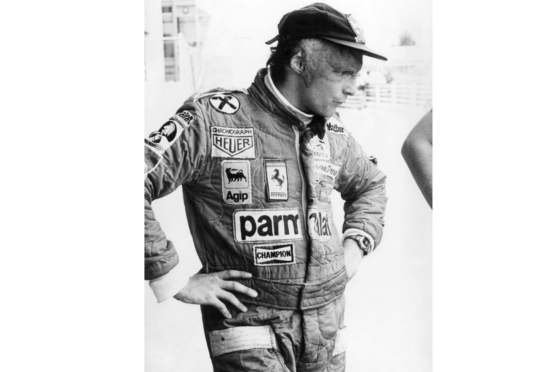 Fotografía de archivo realizada el 26 de abril de 1977 del expiloto Niki Lauda durante un entrenamiento en el circuito del Jarama, en Madrid.Foto: EFE