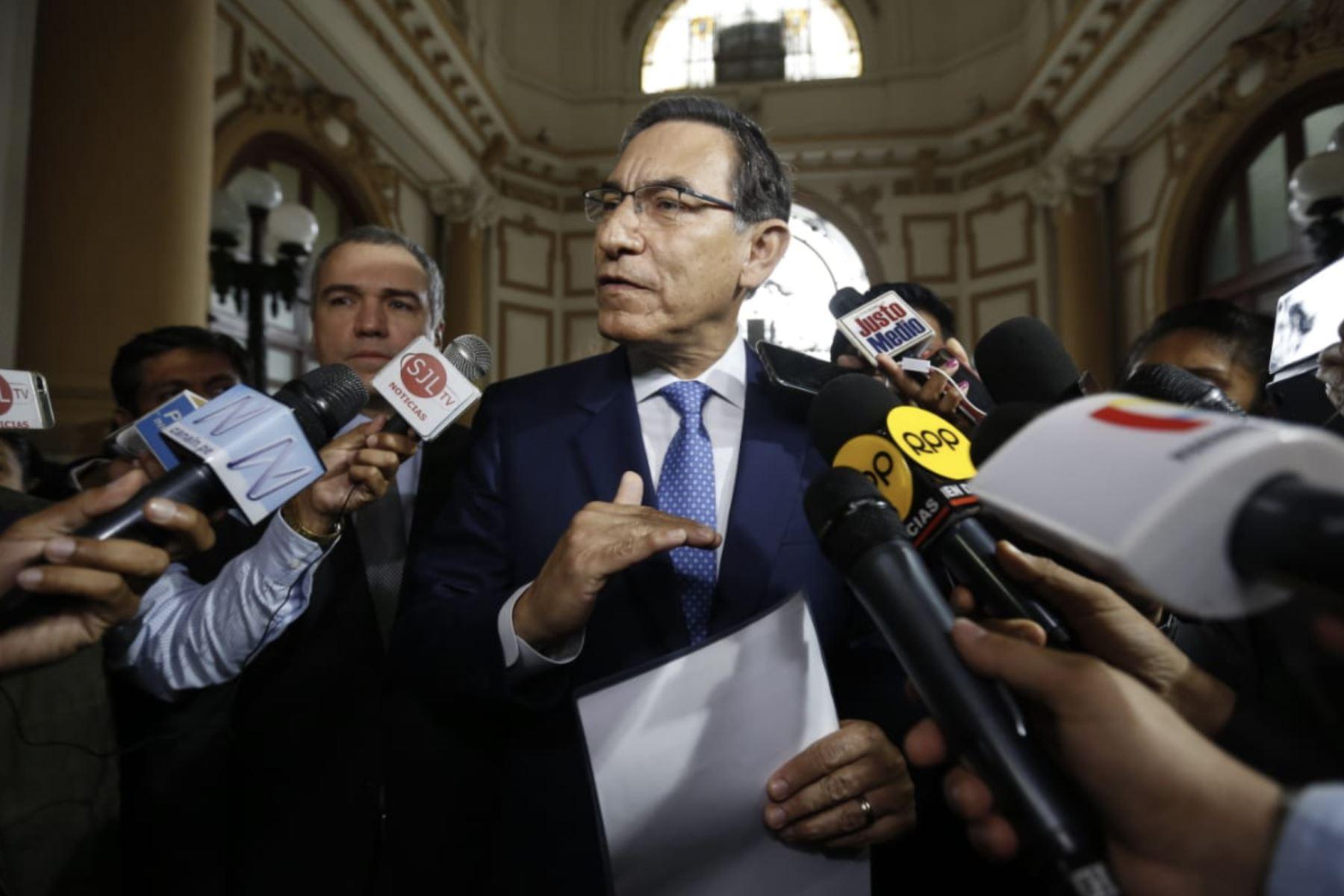 Declaraciones del presidente Vizcarra en el Congreso de la República. Foto: ANDINA/ Prensa Presidencia